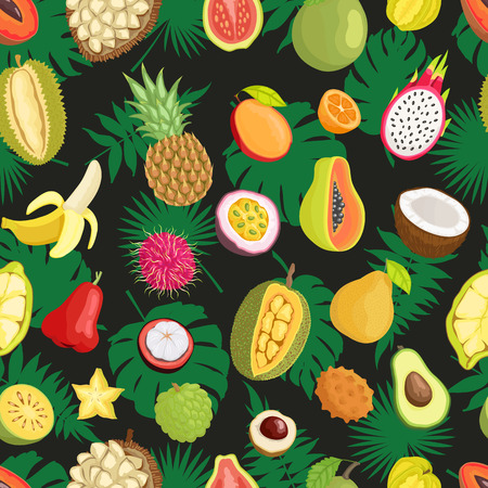 Tropical exotic fruits, green leaves seamless pattern isolated. Banana and champoo, guava and pineapple, coconut and carambola, rambutan and lychee Illustration