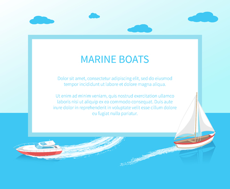 Sea trip boats poster with frame modern yacht marine nautical personal ship icon. Sail ship with canvas sailing in deep blue waters and leave trace vector