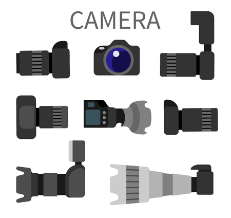 Set of high resolution action cameras with removable lens vector illustration front and side view photocameras isolated. Gear with flash and zoom function