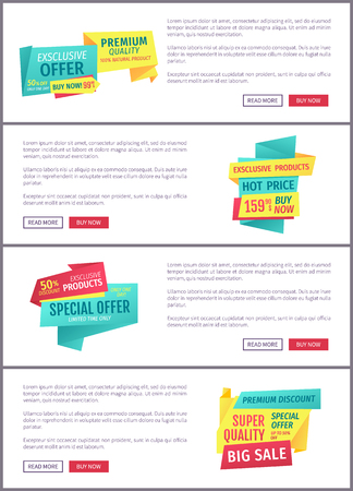 Special offer banners set, vector design icons. Super premium quality, hot price, exclusive products, big sale, discount and limited time promotion Stock Vector - 127471591