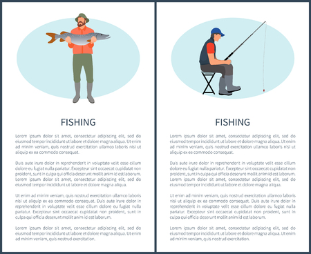 Man with Pike and Fisher Guy on Chair Poster Illustration