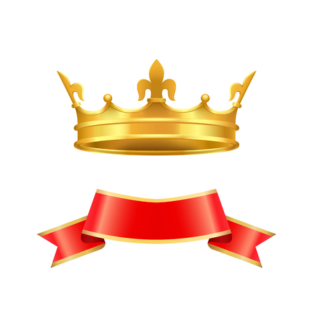 Ribbon and Crown Icons Set Vector Illustration