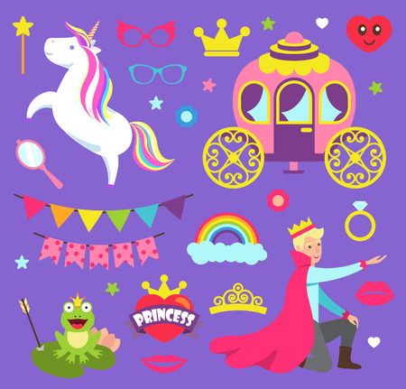 Princess party with unicorn carriage for prince vector. Frog with arrow, decorative flags and ring, rainbow and glasses accessories, heart and crown Stock Illustratie