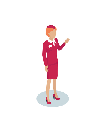 Fly attendant greeting 3D icon. Stewardess welcoming people on board. Air hostess in red uniform with name badge on jacket airlines isolated on vector