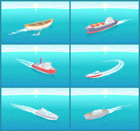 Water transport, ships cruise liners yacht set vector. Ferry for people transportation and comfortable voyages. Transit and transfer by sea and ocean