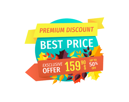 Premium Autumn Discount with Best Price Emblem 向量圖像