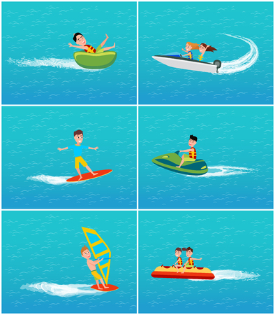 Water transportation and fun of young people set vector. Jet ski and windsurfing, banana boat and windsurfer on board. Rubber inflatable item to float