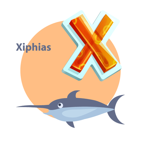 Letter X for Xiphias cartoon alphabet for children. Volume symbol with pattern, swordfish ocean animal with long nose-needle, vector icon isolated Foto de archivo - 127471605