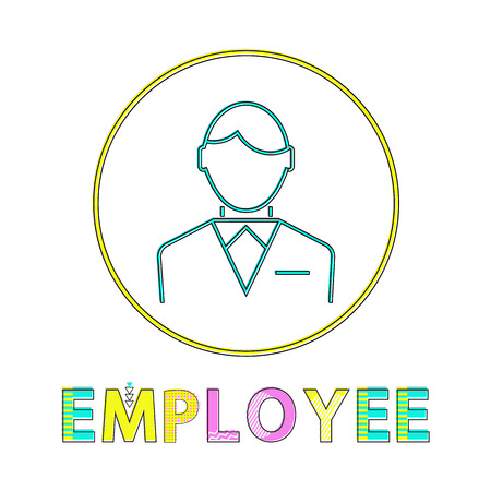 Employee working man outline businessman wearing formal suit with bow. Icon of male in circle person on job occupation and text isolated on vector