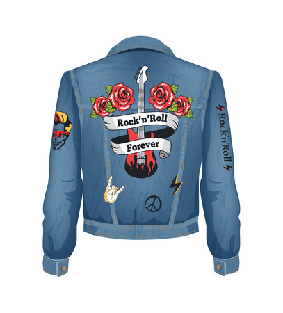 Rock-n-roll forever denim jacket with electric guitar patch. Roses blooming and gesture of horned fingers. Peace sign and bolts vector illustration Ilustração