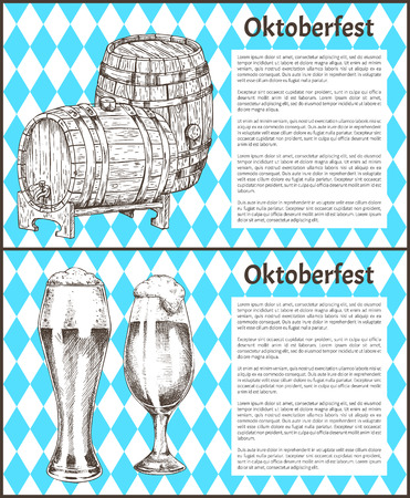 Oktoberfest beer objects set hand drawn icons. Wooden barrels and full tumblers with flowing foam on blue and white rhombuses vintage vector template