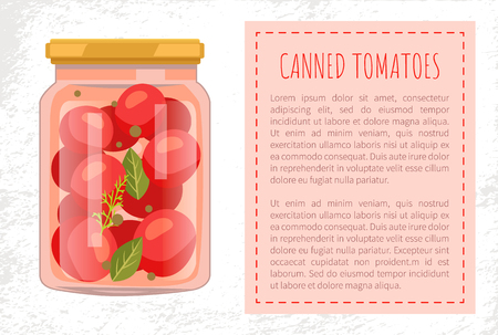 Canned tomato veggies preserved food in screw-cap glass jar. Cherry vegetable with bay leaf, whole pepper and dill spicery flat vector poster, text sample