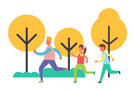 People running in park set, vector cartoon icon. Group of children jogging among trees, playing game and having fun, hand drawn emblem, holiday theme Çizim