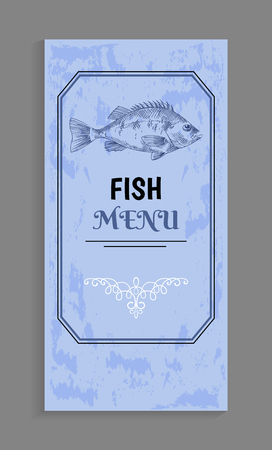 Semi-antique elegant fish menu with bream or bass depiction, twirl and frame as decoration vector illustration. Good choice for seafood restaurant.