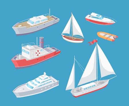 Schiffsvektor für den Wassertransport. Set von verschiedenen Transportmitteln für Passagiere. Große Distanzen, Segelboot und Frachtschiff