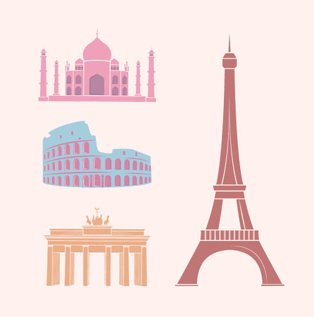 World Famous Sights and Landmarks Travel Stickers Illustration