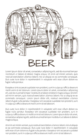 Ale Barrel and Refreshing Drink Hand Drawn Poster