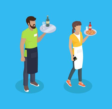 Camarera y camarero con bandejas y comida. Servicio de bebidas bebida alcohólica botella de vidrio rebanadas de pizza italiana. Servidores servidores vector isométrico 3d