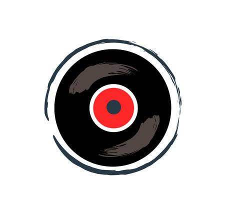Vinyl recording tape for music. Old-fashioned rounded record for soundtracks. Vintage item emblem of high quality sound isolated on vector illustration Vektorgrafik
