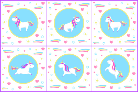 Unicorn set of creatures with drawn icons vector. Flowers and flourishing, shining star and hearts surrounding mythological animal in different poses