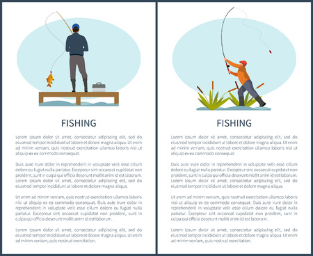 Fishing or angling hobby or sport activity poster with text sample. Man with spinning and fish on pier or dock and fishman in reed throwing rod gear. Vector Illustration