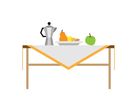 Still life composition for photography with fruits. Pear near lemon in plate, green apple and teapot on table cartoon vector illustration isolated.