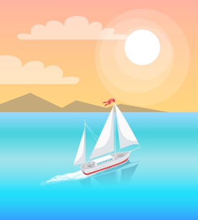 Icône de bateau personnel nautique marin yacht moderne. Voilier avec toile blanche naviguant dans les eaux d'un bleu profond et laissant une trace sur fond de montagnes