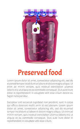 Preserved food poster canned plums in glass jar with lid decorated by bow and scrap label. Home cooking fruit conservation vector illustration isolated. Illustration