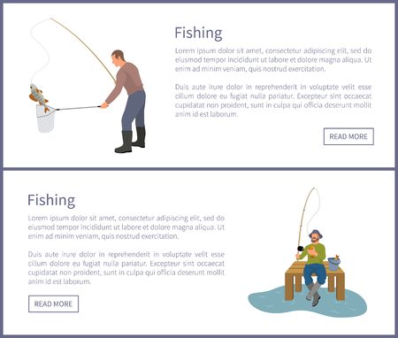 Fishing fisherman from platform and from bank. Sitting and standing fishers with fish-rod and fish, full bucket and landing net vector illustration