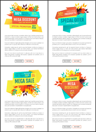 Mega discount special offer posters set. Decreased prices reduction of cost on natural products. Autumnal clearance promotion and suggestion vector 向量圖像