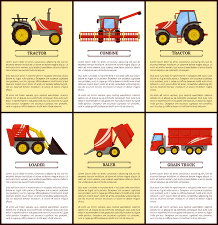 Agricultural machinery set, cartoon vector banner. Combine and loader, small compact and big tractor, grain trailer and baler, equipment isolated Illusztráció