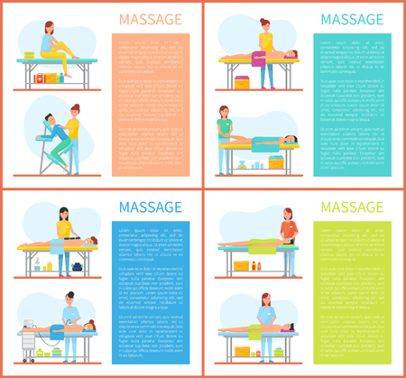 Relaxing and stretching muscles massage in physiotherapy room vector set. Masseuse in uniform massaging foot and back, face and body of lying client
