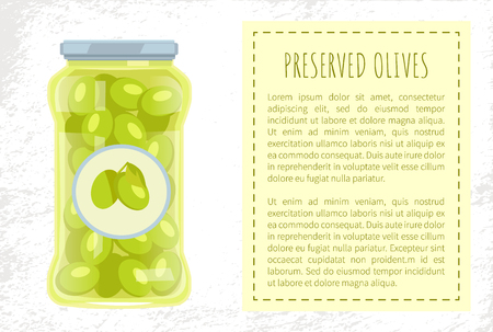 Olives preserved food in glass jar vector poster with text sample. Traditional mediterranean cuisine pickled marinated veggies, homemade canned snack