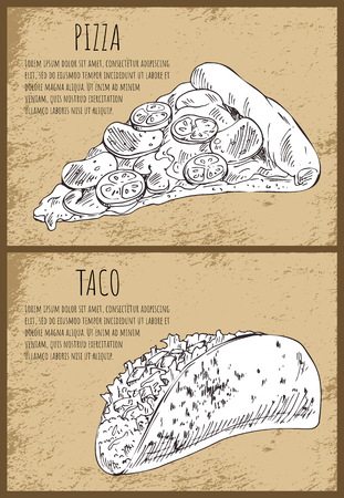 Appetizing pizza slice and hot stuffed taco. Hand drawn vector illustration set in sketch style on vintage background with spots and text sample poster.  イラスト・ベクター素材