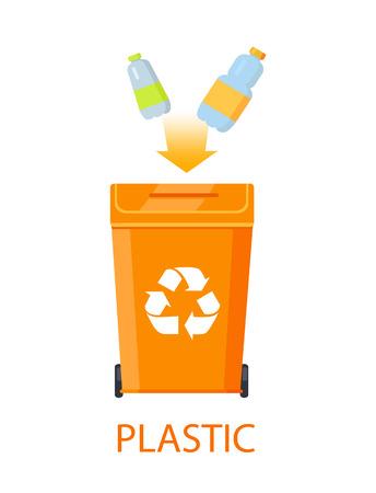 Plastikmüll und Mülleimer-Vektor-Illustration Vektorgrafik