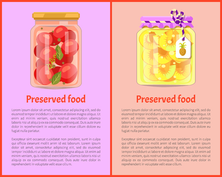 Preserved Food Posters with Tomato and Pineapple Banque d'images - 112716563