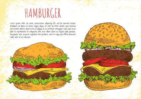 Hamburgers with rich stuffing vector illustration isolated on bright background, fast food snacks cutlets cheese salad tomatoes and onion ingredients