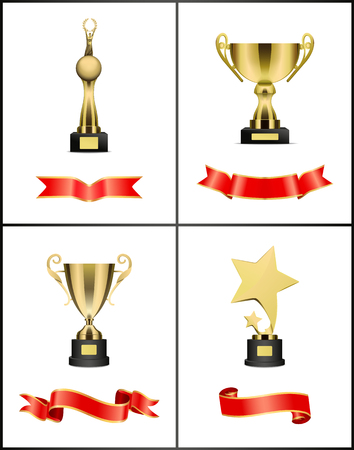 Awards and Trophies Icons Set Vector Illustration 일러스트