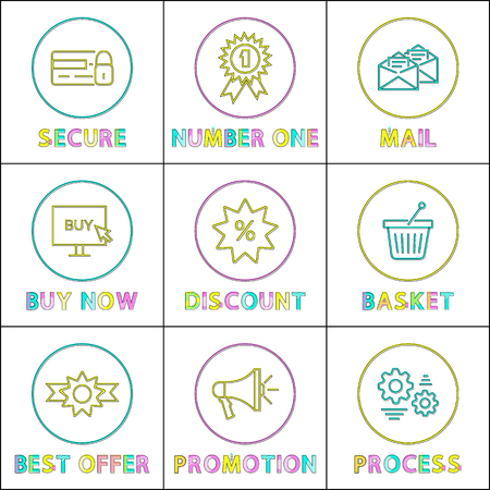 Secure and number one posters set. Promotion process, award with certificate, mails and buy now info on screen, discounts with offers vector illustration