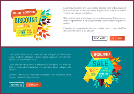 Special promotion discount posters set with text sample. Autumn proposition offer on natural products. Buy now only tomorrow half reduction vector Illustration