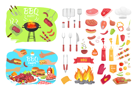 BBQ party poster and isolated icons vector. Grilled roasted meat with utensils ham and beef. Sausages and vegetables veggies and hamburgers hot dogs