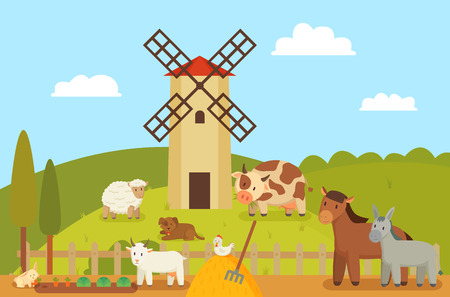 Windmill and farm landscape, animals and mammals. Hen on hay, sheep and horse, donkey and cow. Rabbit with carrot, goat by fence vector illustration