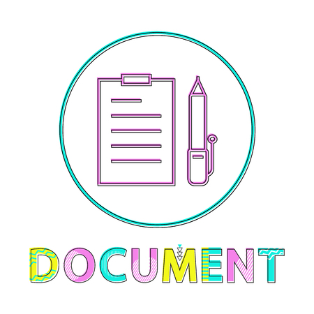 Document with pen set icon. Documentation on clipboard with pencil for signing. Business contract checklist paper page notebook isolated on vector Stock fotó - 127471651