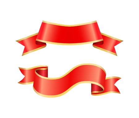 Ribbon icons of banners set of red stripes with borders. Decorative element designed to put text sample in it. Swirl with curly shaped ends vector