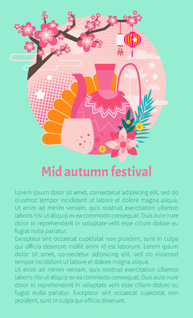 Mid autumn festival banner with vector traditional porcelain ornate teapot and cup. Sakura branch with chinese lanterns festive symbols applique. Illustration