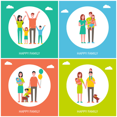 Happy Family Childhood Set Vector Illustration Çizim