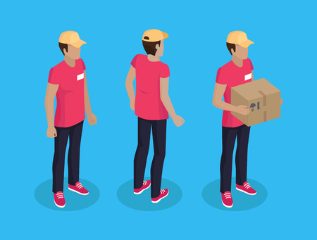 Delivery man with parcel made of cardboard. Courier wearing uniform and badge with name. Shipping of items transportation of orders service vector Иллюстрация