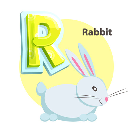 Letter R for Rabbit cartoon alphabet for children