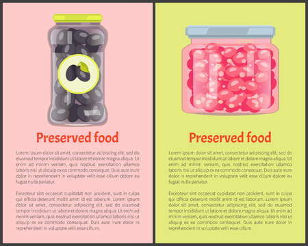 Preserved food in glass containers set. Olives and cranberries conserved in jars canned vegetables and berries. Sweet fruits vitamins potting vector
