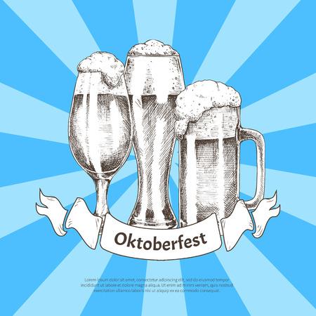 Three Beer Glasses with Oktoberfest Ribbon Poster Illustration